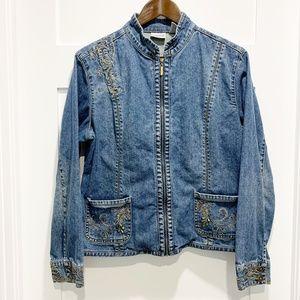 Chico's Denim Jean Jacket Full Zip Embroidered